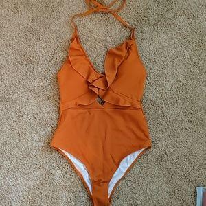 Cupshe Orange Halter Padding One-piece swimsuit